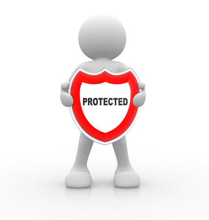 panoply: 3d people - man, person with a shield. Protected Stock Photo