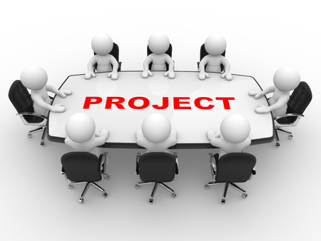 project team: 3d people - men, person at a conference table. Project Stock Photo