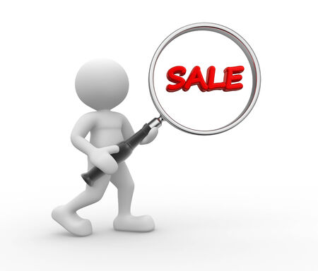 3d people - man, person with magnifying glass and word sale photo
