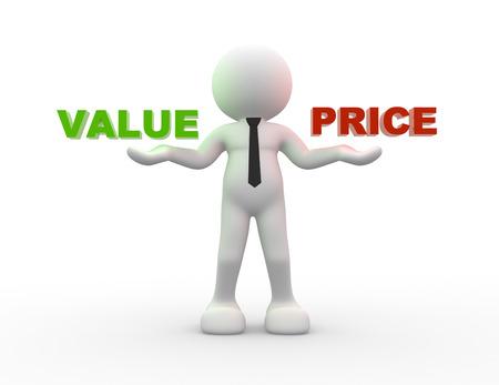 3d mensen - een man, persoon met woorden waarde en prijs
