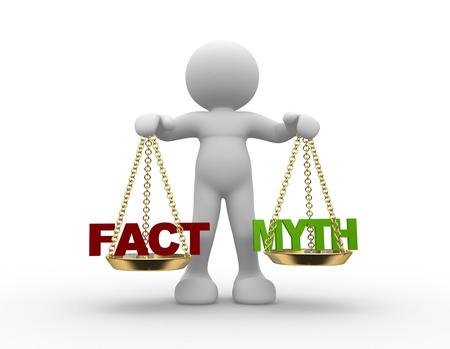 3D-Menschen - ein Mann, Person mit Fakten und Mythen auf der Skala. Lizenzfreie Bilder