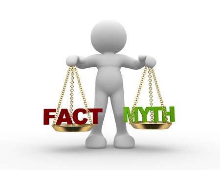 myth: 3d people - man, person with  facts and myth on scale.