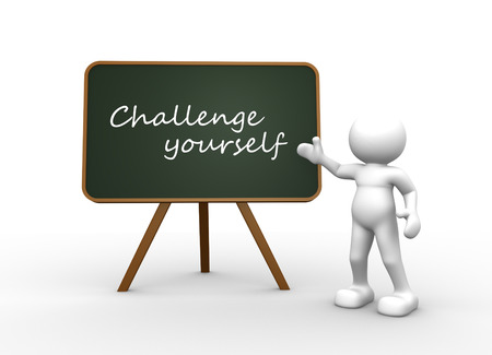 challange: 3d people - man, person with a blackboard. Challenge yourself