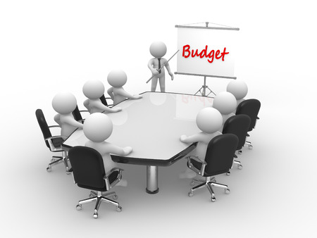 flipchart: 3d people - man, person at conference table and a flipchart. Budget