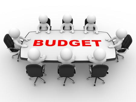 3d mensen - een man, persoon aan vergadertafel. Begroting Stockfoto