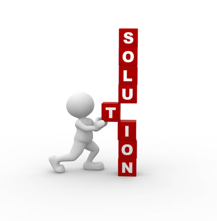 building icon: 3d people - man, person with cubes and word SOLUTION. Solution concept Stock Photo