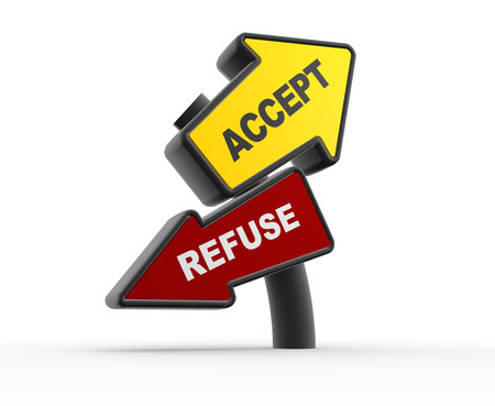 accept: 3d arrowa. Accept or refuse Stock Photo
