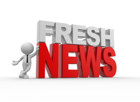 fresh news: 3d people - man, person and text  fresh news