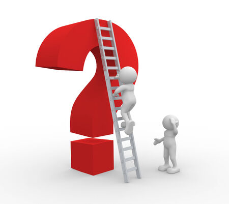 clamber: 3d people - man, person with a ladder and an question mark