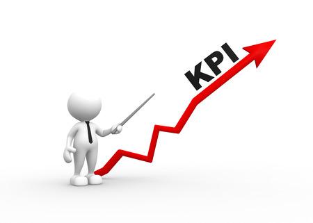 3d mensen - een man, persoon met pijl en KPI's (Key Performance Indicator) Stockfoto