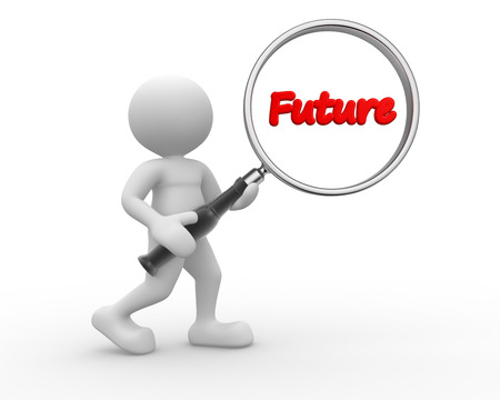 prognosis: 3d people - man, person and word future, with a magnifying glass