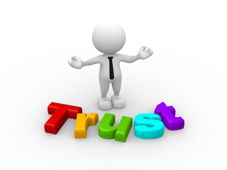 trust people: 3d people - man, person with word Trust