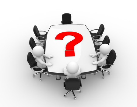 unknown men: 3d people - man, person at conference table and question mark Stock Photo