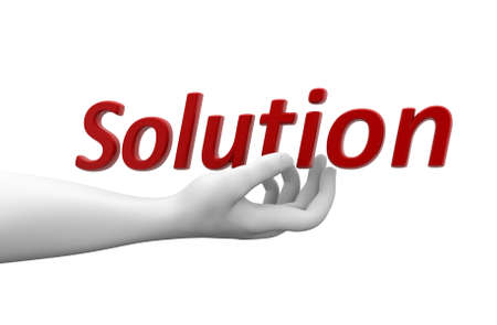 the solution: 3d hand with word solution