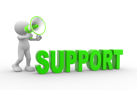 provide information: 3d people - man, person with megaphone. Concept of support