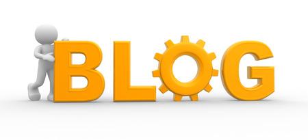 """3d gente - hombre, persona y la palabra """"blog"""". Concepto de comunicación, el diálogo"""