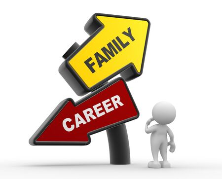 family man: 3d people - man, person and Family and Career balance.