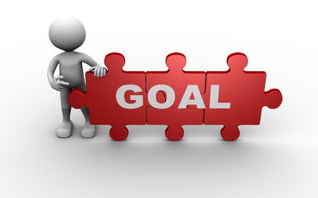 white achievement: 3d people - man, person and pieces of puzzle. Goal concept