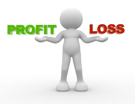 perdidas y ganancias: 3d gente - hombre, persona y la palabra ganancias o pérdidas