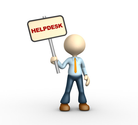 helpdesk: 3d people - man, personwith a banner. Helpdesk