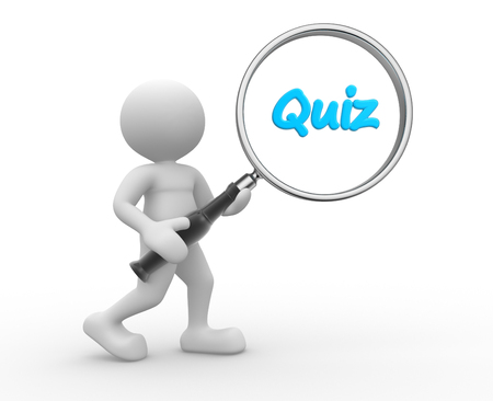 quizzing: 3d people - man, person and magnifying glass. Quiz