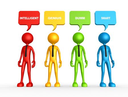 persoonlijke groei: 3d mensen - mens, persoon en bellen. Persoonlijke groei
