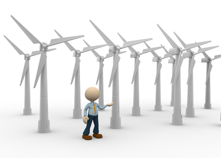 impeller: 3d people - man, person and wind turbines. Concept of ecology. Wind energy.