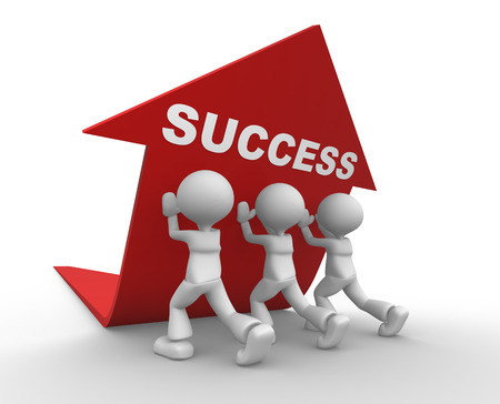 common goal: 3d people - men, person pushing red arrow. Concept of success