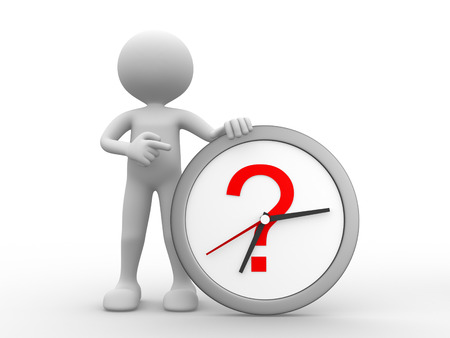 questions: 3d people - man, person with a clock and a question mark