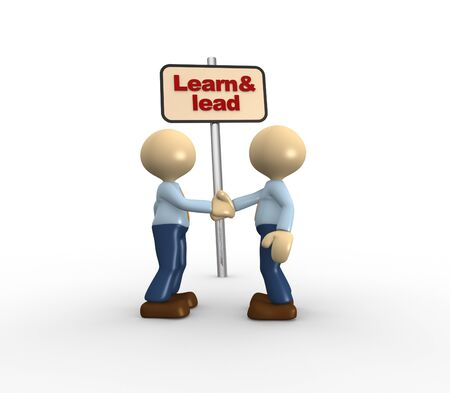 learn and lead: 3d people - men, person shaking hands. Learn & lead Stock Photo