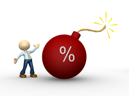 savings problems: 3d people - man, person  with symbol of percents and red bomb Stock Photo