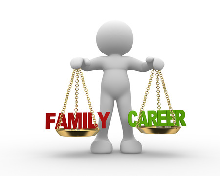 family man: 3d people - man, person with  Family and Career balance.
