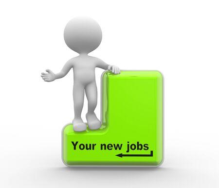 felicitaciones: 3d gente - hombre, persona con un teclado y un texto a sus nuevos puestos de trabajo