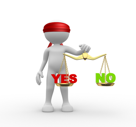 verdicts: 3d people - man, person blindfolded with a justice scale Stock Photo