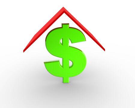 signo pesos: Imagen 3D de la casa verde con signo de dólar en el fondo blanco