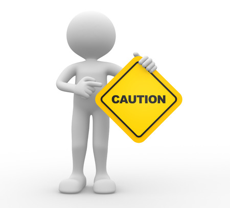 3d people - man, person holding road sign of caution