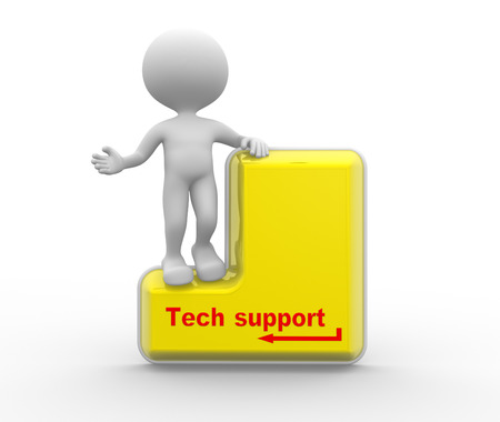 tech support: 3d people - man , person with big keyboard. Tech support