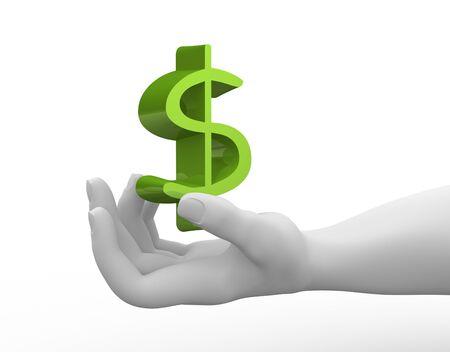 dollaro: 3d render mano e il segno del dollaro