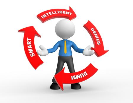 3d people - man , person with conceptual arrows. Intelligent, genius, dumm, smart Stock Photo