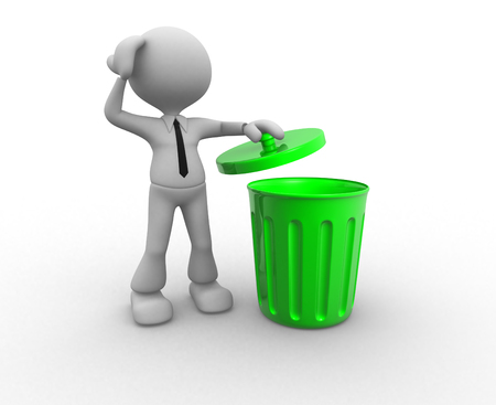 utilize: 3d people - man , person standing next to a trash can