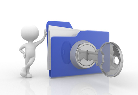 web icon: 3d people - man , person with big folder. Concept of security Stock Photo