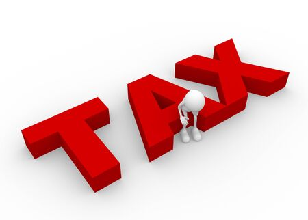 income tax: 3d people - man, person and word tax