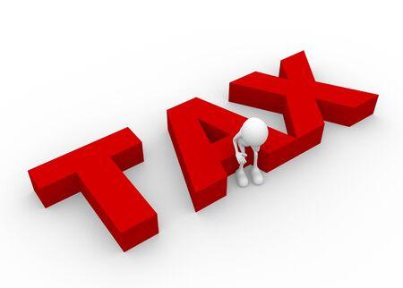 tax bills: 3d people - man, person and word tax