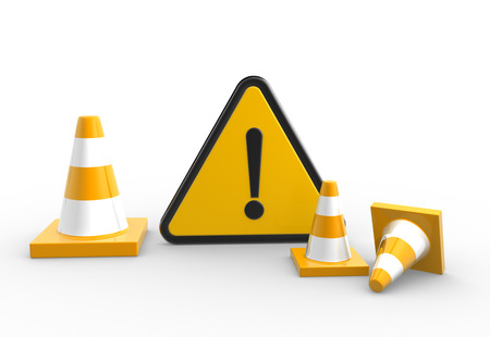 caution chemistry: 3d render warning sign and traffic coins