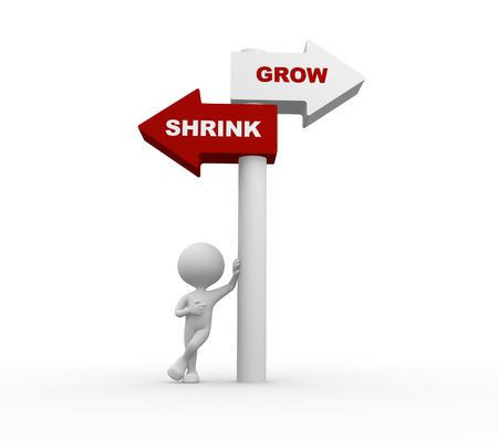 shrink: 3d people - man, person and directional sign. Grow Vs Shrink