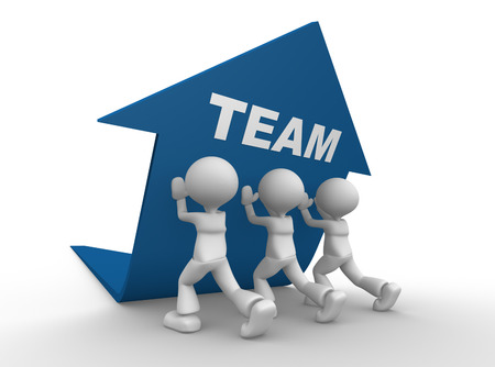 3d people - man, person pushing blue arrow. Teamwork concept Stock Photo