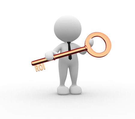 coefficient: 3d people - man , person with key. ROI - return on investment Stock Photo