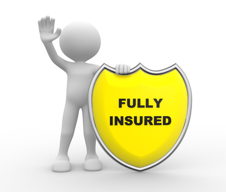 insured: 3d people - man , person with Yellow shield and text Fully Insured Stock Photo