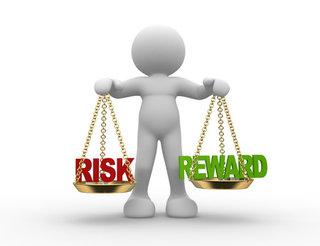 investing risk: 3d people - man , person with risks and rewards of a situation or issue on a scale Stock Photo