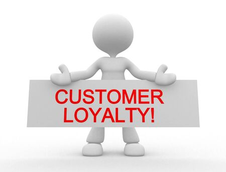 loyalty: 3d people - man , person with board. Customer loyalty! Stock Photo